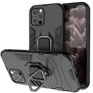 BIBERCAS Compatible with iPhone 12 Pro Max Case,iPhone 12 Pro Max Magnetic Case with Ring Holder,Heavy Duty Military Grade Full Body Protection Cover for iPhone 12 Pro Max 6.7 inch 2020-Black