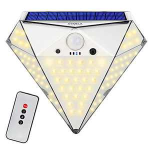 0utdoor Solar Lights with Remote Control, HYMELA 3 Modes Diamond Security Light with Motion Sensor Solar Powered Flood Light 78 LED Waterproof for Fence Yard Pathway Front Door, Warm White (1 Pack)