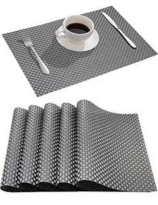 Volance Placemats Place mats for Dining Table Set of 6 Textilene PVC Mats Stain Resistant Anti-Skid Washable Vinyl for Dining Kitchen Restaurant Table Easy to Clean(Black/Stripe)