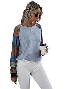 Romwe Women's Casual Color Block Long Sleeve Raglan Shirts Loose Tunic Tops Tee Light Grey S