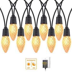 DSLeben 48ft LED Outdoor String Lights Waterproof with Dusk to Dawn Sensor 25pcs Plastic C9 Edison Bulb Hanging Lights Used in Patio, Backyard, Pergola, Gazebo, Porch, Bistro, Cafe Outside Lighting