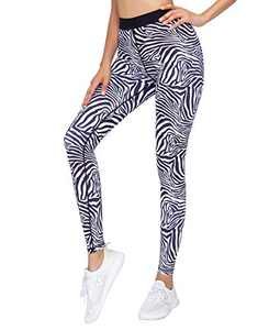 AOR Women's High Waist Yoga Pants Naked Feeling Workout Leggings Tummy Control (White Zebra Pattern, XL)