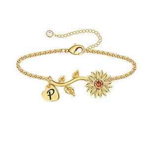Anoup Initial Sunflower Bracelets for Girls Women, 14k Gold Plated Sunflower Bracelets Initial P Bee Sunflower Charm Bracelets Sunflower Jewelry Sunflower Gifts for Girls Women Gold White Gold