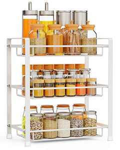 Bathroom Countertop Organizer, F-color 3 Tier Detachable Kitchen Spice Rack Wire Basket Storage Counter Shelf Organizer, White