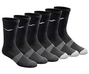 Saucony Men's Multi-Pack Mesh Ventilating Comfort Fit Performance Crew Socks, Black (6 Pairs), Shoe Size: 8-12