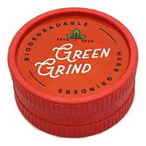 Biodegradable 2 Piece 2 Inch Herb and Spice Grinder Hemp Composition Light Weight Travel Pocket Friendly and Environmentally Eco Friendly Grinder Gift Multiple Colors (Red)