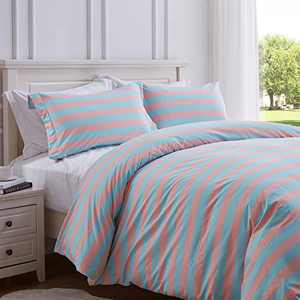 SunStyle Home 100% Microfiber Stripe Duvet Cover Line 2-Piece Set Bedding Duvet Cover with Corner Ties and 1 Pillow Sham(Pink/Blue,Twin
