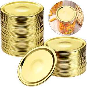 30 Pieces Canning Jar Lids Wide Mouth Jar Lids Stainless Steel Leak Proof Split-type Lids Compatible with Regular Mason Jars, 87 mm, No Band Included, Gold Color