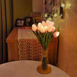 Minidiva 12 pcs Tulips Artificial Flowers with LED Light, Real Touch Fake Bouquet for Home Decor, Table Centerpieces, Night Lamp, Gift Idea, Wedding Arrangements, Battery Powered, Timer Settings