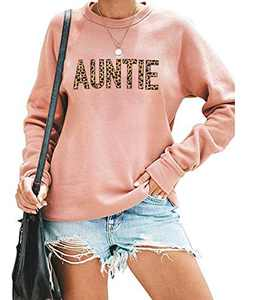 EGELEXY Mama Sweatshirt Women Cute Leopard Funny Letter Print Mom Blouse Tops Casual Long Sleeve Vacation Shirts Tops (Auntie Pink, X-Large)