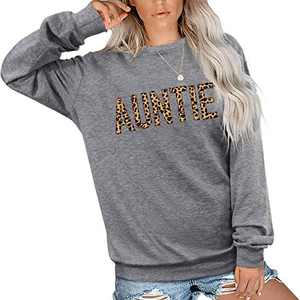EGELEXY Mama Sweatshirt Women Cute Leopard Funny Letter Print Mom Blouse Tops Casual Long Sleeve Vacation Shirts Tops (Auntie Grey, XX-Large)