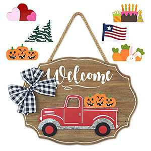 Winder Truck Welcome Sign for Front Door Red Truck Decor with 6-PC Interchangeable Seasonal Icons Farmhouse Wooden Wall hanging for Valentines Easter 4th of July Birthday Halloween Christmas Holiday Door hanger Decorations(Natural)