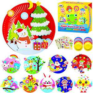 ZMLM Arts Crafts Gift Christmas: Paper Plate Art Kit for Girl Boy Art Supply Project Toddler Creative Fun Children Preschool Party Favor Bulk Activity Birthday Game Xmas Holiday Crafts Toys for Kids