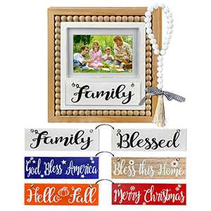 Winder Family Picture Frame Farmhouse Wooden 4x6 and 5x7 inch Photo Album with 3-PC Seasonal Interchangeable Holiday Summer Fall Harvest Christmas Home Decor Wall Mount Table Decoration Gifts