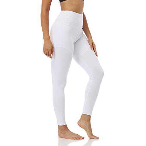 YOLIX High Waitsed Leggings for Women, Super Soft Slim Womens Pants for Yoga Workout Running Athletic White