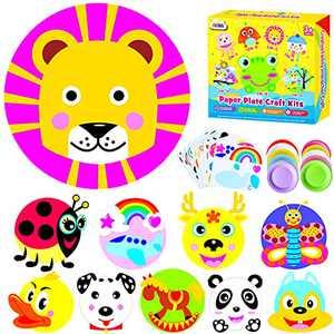 ZMLM Arts Crafts for Girls Boys: Toddlers Paper Plate Art Kit Preschool Art Supply Party Favor Group Activity Project Fun Children Christmas Birthday Gift Game Holiday Crafts Educational Toy for Kids