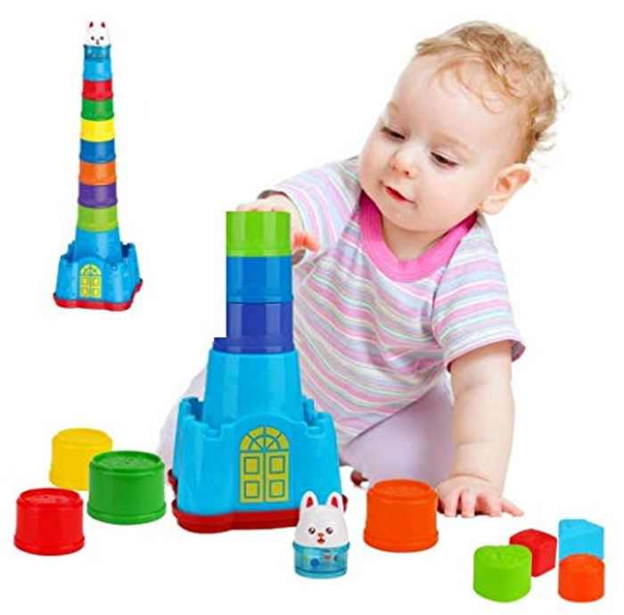 E-More Stacking Cups 15 pieces with Cute Bunny Toy, Sound Folding Cup Toy Stacking Cups Game Toy Animal Castle Stacking Cups with Shape Sorters for Baby Kids Childrens Educational Toy Bath toys