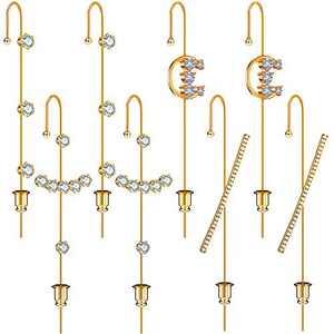 8 Pieces Ear Cuff Wrap Crawler Hook Earrings Ear Cuffs Piercing Earrings for Women Girls, Cubic Zirconia Rhinestone Hoop Earrings Jewelry, Gold