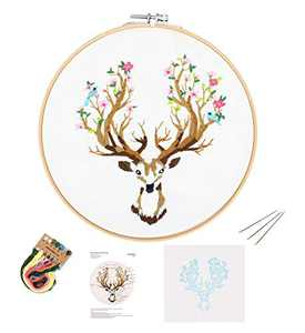 Full Range of Embroidery Starter Kit with Pattern DIY Beginner Starter Stitch Kit Including Stamped Cloth with Pattern, Bamboo Embroidery Hoop, Color Threads, Needles - Deer