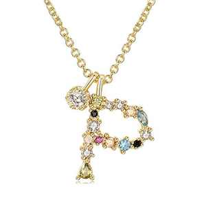 Percolo Initial Necklace Colorful Rhinestones for Women Dainty Necklace Letter Jewelry Collection