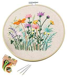 Full Range of Embroidery Starter Kit with Pattern DIY Beginner Starter Stitch Kit Including Stamped Cloth with Pattern, Bamboo Embroidery Hoop, Color Threads, Needles - Flowers Colorful
