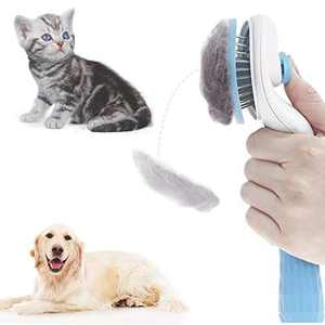 Self Cleaning Slicker Brush for Dogs and Cats, Pet Grooming Tool, Removes Undercoat, Shedding Mats and Tangled Hair, Dander, Dirt, Massages Particle