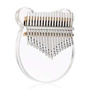 Beveetio Clear Kalimba Thumb Piano With Eva Protective Case, Transparent Crystal Kalimba 17 Key, Musical Instrument Gifts For Kids, Cat Bear Shape Finger Piano, Acrylic Mbira (Crystal & Bear)