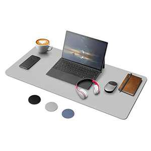 YOOFAN Dual Sided Desk Pad, PU Leather Office Desk mat, 31.5″×15.8″ Desk Blotter Pad, Waterproof & Non-Slip Writing Mat Mouse Pad, Easy to Clean Desk Cover Protector for Office Home (Grey)