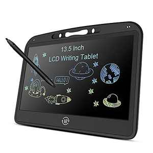 13.5 Inch LCD Writing Tablet, Doodle and Scribbler Boards Drawing Board Colorful Screen Drawing Doodle Pad with Lock Function Erasable Drawing Tablet for Home Office Traveling(Black)