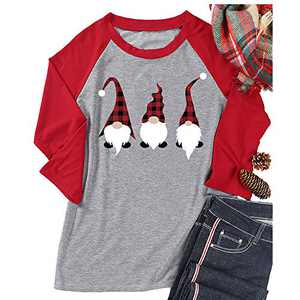 T&Twenties Women's Christmas Gnome Shirt Cute Raglan Baseball Gnome T Shirts Christmas Short Sleeve Long Sleeve 3/4 Tees