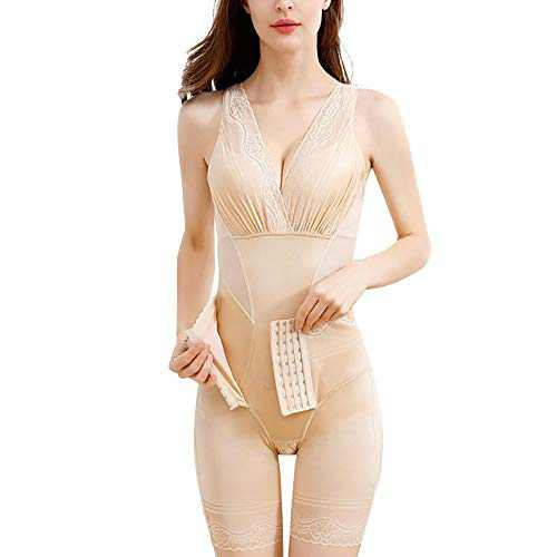 NOVIAIR Women's V Neck Full Body Shaper Bodysuit Waist Trainer Corset for Tummy Control Butt Lifter Shapewear (Beige, X-Large)