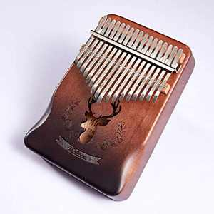Molioon Kalimba 17 Keys Thumb Piano Figer Piano Mbira Keyboard Music Instrument with Bag, Tune Hammer, Learning Instruction and Stickers, Gift for Kids Adults Beginners Professional
