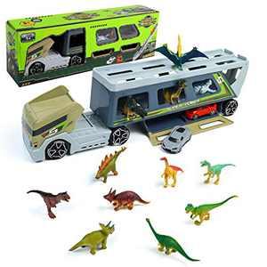 Dinosaur Toys Trucks, Jurassic Park Toys, with 12 Dinosaur Figures 2 Car Toys, 180 Degree Rotating Detachable Front Cab, Big Storage, Race Tracks Vehicles, Dinosaur Party Favors Birthday Gifts