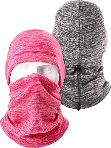 2 Pieces Balaclava Fleece Windproof Face Covering Winter Ski Full Face Covering Neck Warmer Sports Balaclava Hat for Men Women Gray and Pink