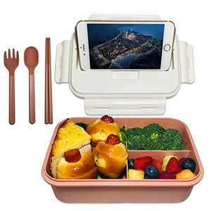 ASYH Bento Box for Kids Adults, 3 Compartments Leak Proof Lunch Box Rectangular Reusable Lunch Dinner Boxes with Fork and Spoon for Outdoors School Office (Pink)