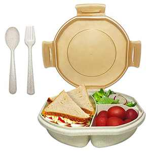 Bento Box for Kids Adults, ASYH Leak Proof 3 Compartments Lunch Container Rectangular Reusable Lunch Dinner Boxes with Fork and Spoon for Outdoors School Office (Beige)
