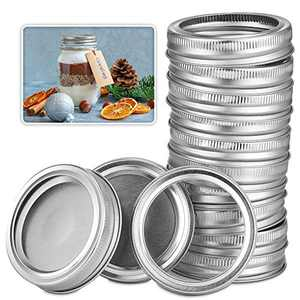 Mason jar lids, Canning Lids, [24-piece set] lid and ring, suitable for wide-mouth glass bottle caps, split leak-proof, air-tight, reusable wide-mouth lid (wide-mouth 86 mm/3.38 inches)