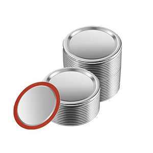 Mason jar lids, [24-piece set] Ordinary mouth ball jar lids split type leak-proof, airtight and reusable canning jar lids (Regular Mouth70 mm/2.76 inches)