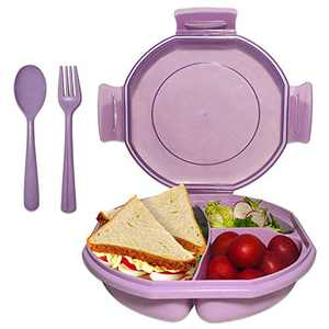Bento Box for Kids Adults, ASYH Leak Proof 3 Compartments Lunch Container Rectangular Reusable Lunch Dinner Boxes with Fork and Spoon for Outdoors School Office (Purple)