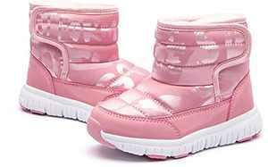 GirlsWinterSnowBootsWaterproofOutdoorWarmFauxFurLinedShoeswithStrap(Pink AW)
