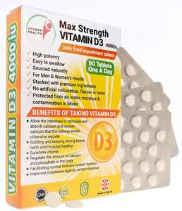 Max Strength Vitamin D3 4000iu Supplements   Sunshine Vitamin   Unisex Supplement   Bones & Teeth   Immune   Regulate Calcium & Phosphate   Made from Quality Natural Ingredients   Made in The UK