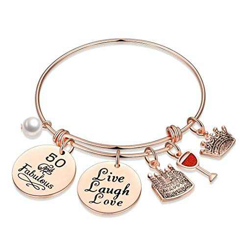 M MOOHAM 50th Birthday Gifts for Women, Turn Fifty Birthday Bday Present Turning 50 Year Old Birthday Gifts for Friends Female Sister Women Age 50 Live Love Laugh Bracelet