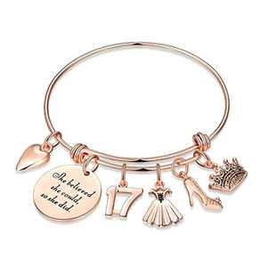 17th Birthday Gifts for Girls, Sweet 17 Gifts for Teen Girl Turning 17 Fabulous Birthday Gifts Bday Present Bracelet 17 Year Old Girl Gift for Birthday Inspirational She Believed She Could So She Did