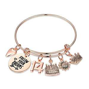 14th Birthday Gifts for Girls, Sweet 14 Gifts Turning 14 Year Old Girl Gifts for Birthday Bday Jewelry Follow Your Dreams, Rose Gold Birthday Bracelet Happy Birthday Gifts for Girls Age 14 Teenager
