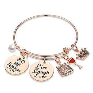 M MOOHAM 80th Birthday Gifts for Women, Turn Eighty Birthday Bday Present Turning 80 Year Old Birthday Gifts for Mom Grandma Nana Women Age 80 Live Love Laugh Bracelet