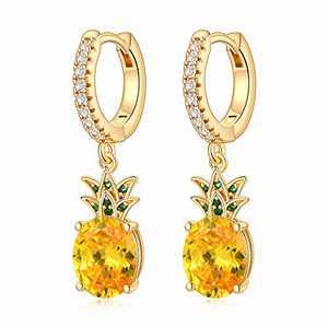 Pineapple Hoop Earrings for Women Girls, S925 Sterling Silver Post Cute Pineapple Dangle Earring Hypoallergenic Pineapple Huggie Hoop Earrings for Women Trendy Jewelry