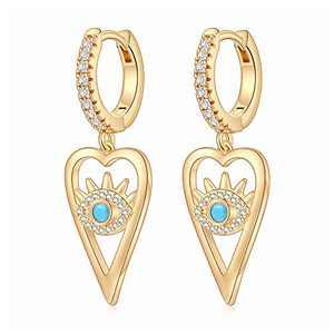 Heart Evil Eye Earrings for Women, S925 Sterling Silver Post Small Evil Eye Drop Earring Lightweight Hollow Heart Evil Eye Huggie Hoop Earrings for Women Gold Jewelry