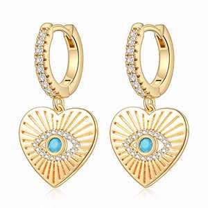 Heart Evil Eye Earrings for Women, S925 Sterling Silver Post Small Huggie Evil Eye Earring Simple Boho Jewelry Heart Shaped Evil Eye Huggie Hoop Earrings