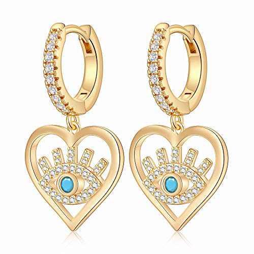 Evil Eye Earrings for Women, S925 Sterling Silver Post Dainty Evil Eye Hoop Earring Hypoallergenic Jewelry Heart Black CZ Evil Eye Huggie Hoop Earrings Jewelry Gifts for Women