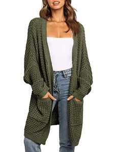 UEU Women's Oversized Long Batwing Sleeve Open Front Chunky Knit Cardigan Sweater with Pockets (ArmyGreen, M)